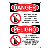 ComplianceSigns Vertical Plastic OSHA DANGER No Cell Phone Use In Area Bilingual Sign, 25cm X 18cm . with English + Spanish Text and Symbol, White