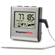 ThermoPro TP16 Large LCD Digital Cooking Kitchen Food Meat Thermometer for BBQ Grill Oven Smoker Built-in Clock Timer with Stainless Steel Probe