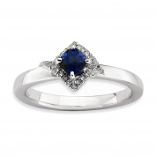 Sterling Silver Stackable Expressions Polished Cr. Sapphire & Dia Ring