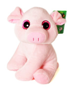 """ANIMALS ON THE FARM - Plush Toy pink Piggy with bright eyes (10""""/26cm) - Super Soft Quality"""
