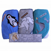 Penguin.Polar Bear/ Seal Hooded Bath Towel Set, 3 Pack, Frenchie Mini Couture