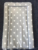 Deluxe Unisex Baby Waterproof Changing Mat with Raised Edges - Unique Grey with White Spot Design