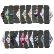 6 Pieces 25cm Regular Charcoal Bamboo Mama Cloth/ Menstrual Pads/ Reusable Sanitary Pads - You Choose 6 From 17 Designs and Send the Message to Me