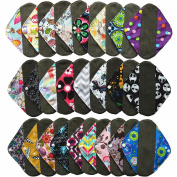 6 Pieces 20cm Charcoal Bamboo Mama Cloth/ Menstrual Pads/ Reusable Sanitary Pads / Panty Liners - You Choose 6 From 17 Designs and Send the Message to Me