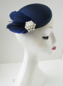 Navy Blue Black Pearl Feather Fascinator Hair Clip Headpiece Races Vintage A89 *EXCLUSIVELY SOLD BY STARCROSSED BEAUTY*