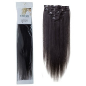 Emosa 15 7Pcs 70g 100% Real Full Head Silky Soft Remy Human Hair Clip In Extensions #1B Natural Black by Emosa