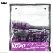 Kodo Lock and Roll 45mm Brush Set Sytem, 6 Barrels, 1 locking handle and 1 pin tale comb, Brush Gift Set