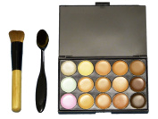 Cadscove® TM 15 Shades Colour Concealer Makeup Palette Kit Make Up Set with Cosmetics Oval Make up With Toothbrush Makeup Brush and Bamboo Brush