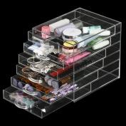 tinkertonk Makeup Cosmetics Case Jewellery Organiser Clear Acrylic 6 Drawers Display Holder Box Storage