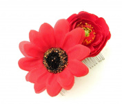 Red Daisy Rose Flower Hair Comb Vintage Bridesmaid Slide Rockabilly 1950s B45 *EXCLUSIVELY SOLD BY STARCROSSED BEAUTY*