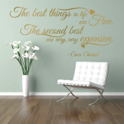 The BEST THINGS in life ARE FREE CC Coco Chanel girls fashion quote wall art sticker decal words, GOLD (METALLIC), 85x41 cm