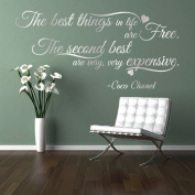 The BEST THINGS in life ARE FREE CC Coco Chanel girls fashion quote wall art sticker decal words, SILVER (METALLIC), 85x41 cm