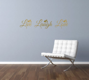LIVE LAUGH LOVE quote, words, design with hearts, wall art sticker decal transfer, GOLD (METALLIC), 57x11cm