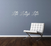 LIVE LAUGH LOVE quote, words, design with hearts, wall art sticker decal transfer, SILVER (METALLIC), 57x11cm