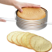 Chinatera 15-20CM Stainless Steel DIY Adjustable Retractable Circular Ring Cake Layered Slicer Baking Tool Kit Set Mousse Mould Slicing for Home Kitchen