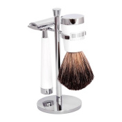 The Fitzrovia Safety Razor White Resin Shaving Set