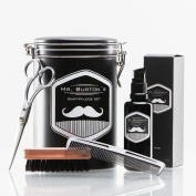 """High-quality beard care set - including Mr Burton's Beard Oil """"pure"""", beard brush, scissors and comb - the perfect gift or birthday present for men and beard-wearers."""
