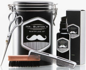 """High-quality beard care set - including Mr Burton's """"fresh"""" Beard Oil, beard brush, scissors and comb - the perfect gift or birthday present for men and beard-wearers."""