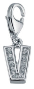 Zirconia Letter V with Charms Pendant 925 / - Sterling Silver CMM105-V
