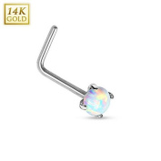 14Kt. White Gold L Bend Nose Ring with Prong Set Opal - Size