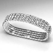 fi9® 4 Row Stretchy Stretch Diamante Silver Bracelet Bangle