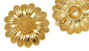Gold Plated Cabouchon Flower Brooch