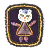 Novelty Frame Cat Brooch Purple Porcelain and Glass Beads - Jewellery