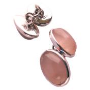 Rose quartz cufflinks in sterling silver - Stone size 10x14mm