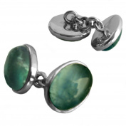Apatite cufflinks in sterling silver - Stone size 10x14mm