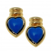 Gold Plated Cabouchon Blue Heart Earrings