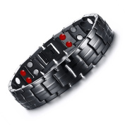 Rainso Mens Black Plated Titanium Steel Magnetic Bracelet Double Row Four Power Elements with Link Removal Tool