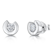 JOOLS Silver Earring With Open Surround Set With a Single Cubic Zirconia Stone
