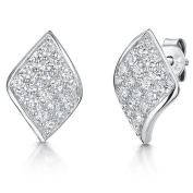 JOOLS Silver Earrings Diamond Shaped With Pave Set Cubic Zirconia