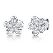 JOOLS Silver Earrings Featuring Five Cubic Zirconia Petals