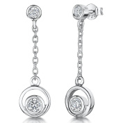 JOOLS Silver Earrings On A Drop With Inner Circle Rub Over Cubic Zirconia Stones In Suspended On Chain