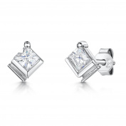 JOOLS Silver Earrings Square Set With Cubic Zirconias With a Half Set Surround