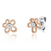 JOOLS Tiny Rose Gold Plated Flower Earring With A CZ Centre