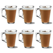 Set of 6 Premium Latte Glasses Mugs 250ml (8.8oz) - Perfect for Espresso, Cappuccino, Coffee, Tea, Hot Chocolate, Hot Drinks, Tassimo & Dolce Gusto Coffee Machines Presented by Kitchen Stars