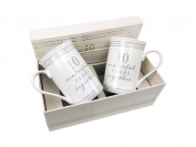 10th Tin Wedding Anniversary Gift Pair Of Sentiment Mugs Gift Boxed