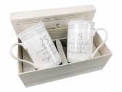 25th Silver Wedding Anniversary Gift Pair Of Sentiment Mugs Gift Boxed