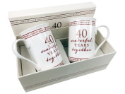40th Ruby Wedding Anniversary Gift Pair Of Sentiment Mugs Gift Boxed