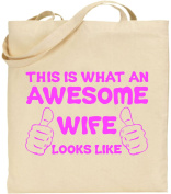 Awesome Wife Large Cotton Tote Shopping Bag Canvas Funny Girl Christmas Gift
