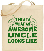 Awesome Uncle Large Cotton Tote Shopping Bag Canvas Funny Guy Christmas Gift