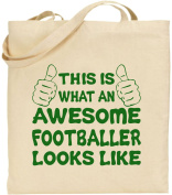 Awesome Footballer Large Cotton Tote Football Bag Canvas Father Day Funny Gift