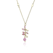 """Little Miss Twin Stars """"Cat-Eyed Bead"""" 14k Gold-Plated Necklace with Dangling Heart and Pink Cat-Eye Beads"""