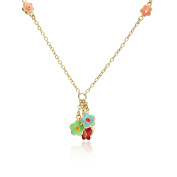 Little Miss Twin Stars 14k Gold-Plated Multicolor Enamel Butterfly and Flower Dangle Chain Necklace