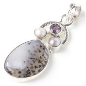 StarGems(tm) Natural Dendritic Opal,Amethyst and River Pearl Unique design 925 Sterling Silver Pendant 4.8cm