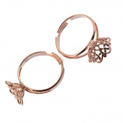 6pcs Adjustable Brass Ring Blank Base Settings Jewellery Making Findings Rose Gold