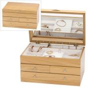 Large Light Oak Wood Finish Wooden Jewellery Box by Mele & Co.