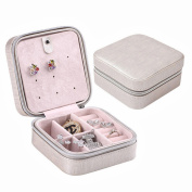 JOYOOO Cream Faux Leather Portable Travel Jewellery Box Case For Earring/Ring/Necklace etc